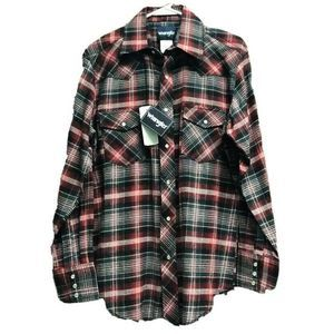 Wrangler Men Button Up Shirt Red Plaid  75098AA M